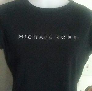 Michael Kor Silver Dot Studded Logo Tee Size M